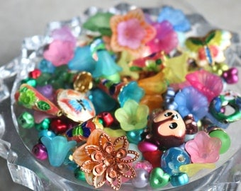 Spring bead mix - assorted colorful flowers, leaves, butterflies, animals -  acrylic lucite cloisonne glass filigree grab bag