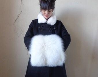oversized white rabbit fur hand muff/ white rabbit fur collar/ vintage 40s 50s accessories
