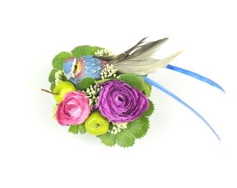 Fascinator Headpiece Cocktail Hat Feathered Bird and Silk Flowers in Purple, Blue and Green Summer and Spring Party Hair Accessory