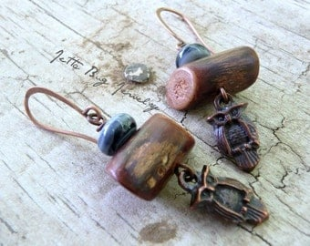 Hoots- rustic copper owls. artisan blue lampwork beads. brown wood twigs. boho wood glam. boho woodland owl earrings Jettabugjewelry