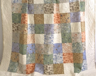 Queen Patchwork Quilt with Beach Cottage Collection Fabrics Shades of Purple Blue Tan Ivory Coral Green