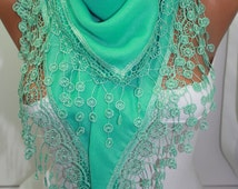Cyber Monday Mint Scarf Cotton Scarf Lace Scarf Triangle scarf   Fashion Accessories Gift Ideas For Her DIDUCI