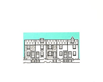 st ives cornwall illustration - 'burrow' - row of cornish cottages drawing - simple st ives cottages - hand drawn houses illustration.