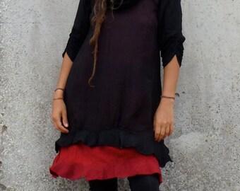 Black n Red Dress ~ Goth clothing ~ Steampunk top ~ Burning man costume ~ Cowl neck ~  Cotton Dress ~ Hand felted edges ~ Elfnfelt