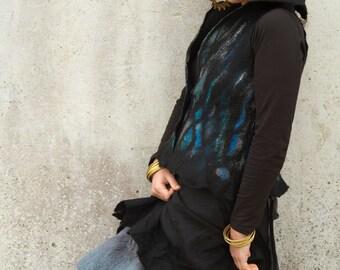 black nuno felt wrap skirt, elfnfelt gypsy wraparound