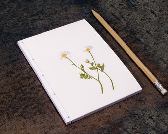 Chamomile. Cute Daisy Notebook. Embroidered Notebook. Gardener Gift. Floral Mini Journal. Botanical Notebook. Spring Notebook. A6 Notebook.