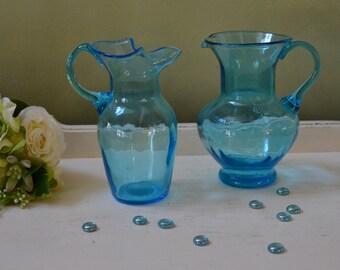 Two Vintage Art Glass Blue  Vases Farmhouse