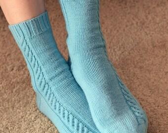 Cable Knit Socks Pattern - SUNDAY MORNING Socks Knitting Pattern PDF - Digital Download