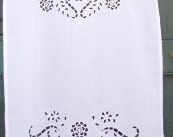 White cutwork curtain with cap on top in a traditional greek design - Mediterranean - Cottage chic - 0000958