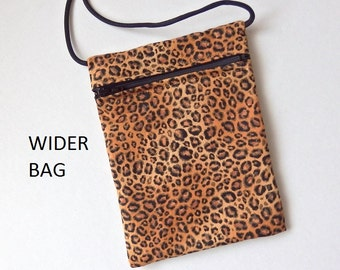 """Pouch Zip Bag LEOPARD Print Fabric - great for walkers, markets, travel. Cell Phone Pouch. Small fabric Purse.  WIDER Cat Bag 7""""X5"""""""