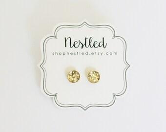 Gold Glitter Stud Earrings, Gold Glitter Post Earrings, Glitter Stud Earrings, Holiday Jewelry