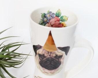 Pug Dog-Shamed Dunce Party Animal Mug, in the dog-house - Porcelain Pottery Dog Roses
