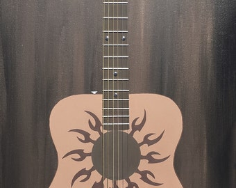Acoustic Guitar, Wall Art, Painting, Guitar, Abstract Art, Acoustic guitar painting with actual guitar strings and real bridge