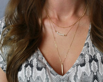 Layered necklace gold / Layered necklace silver / Layered and long necklace / Minimal dainty layering necklaces / Layered necklace set /