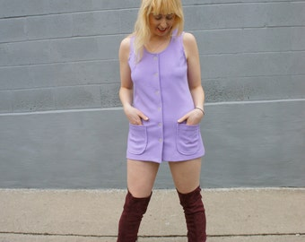 MOD MICRO MINI 1960's Mauve Purple Mini Dress