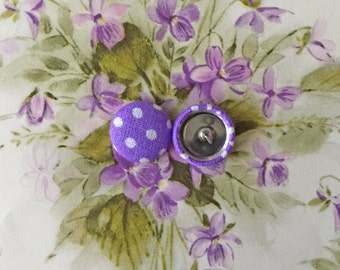 Fabric Covered Button Earring / Purple / Polka Dots / Wholesale Jewelry / Handmade in NYC / Small Gifts / Bulk Discount Available