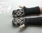 DIY Crochet PATTERN -Floral Fair Isle Crochet Mittens- Ladies Small / Child Large (2016002)