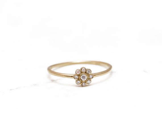 delicate engagement ring flower gold ring unique