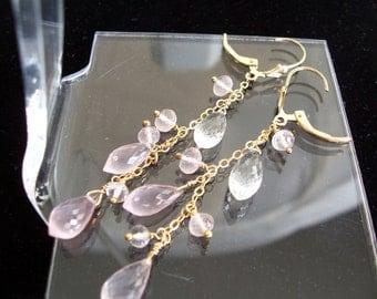 "Rose quartz crystal  2 3/4"" total  14k gold filled leverback dangle briolette earrings gemstone handmade item 762"