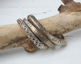 Silver Stretch Bracelet Set of 3/Filigree Silver Tone Stretch Bangles/Boho Chic Bracelets/Stacking Bracelets/Rustic/Boho/Oranate/Layering