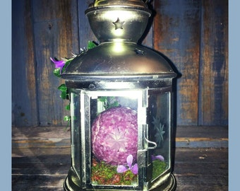 SALE REIKI Crystal Garden ft Lilac Lepidolite sphere - Glass Lantern Terrarium Upcycled Decor Pagan Wiccan Altar Rock Garden