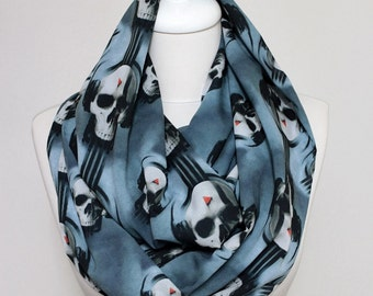 Music Skullhead Infinity Scarf, Loop Scarf Circle Scarf Gift ideas for her, Spring - Summer - Fall - Winter Session