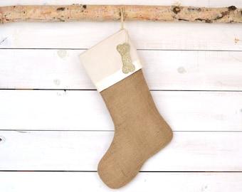 Christmas Stocking - Ivory Satin Trim - Christmas Stocking, Stockings, Personalized Stocking