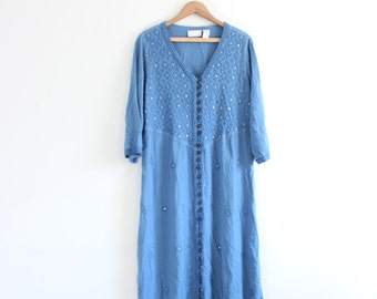 Dreamy Blue Embroidered 90s Maxi Dress