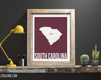 I love Columbia, South Carolina, SC, 11x14 or 8x10, customizable city, I heart pop art poster, digital art print, home decor state art