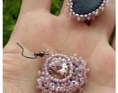 Beaded earrings, rose Swarovski crystals, burlesque jewelry, dangle earrings, handmade jewelry, bohemian jewelry, fashion gift, rebelsoulek