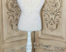 Altered dress form, table top dress form, mediterranea design studio, pearl embellished, altered mannequin, french dress form, pearls