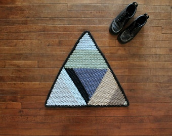 SALE - Handmade Coastal Color Block Triangle Rug - Ready to Ship