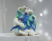Custom Order For Megan - Needle Felt White Bears - Dreamy White Bears Family -Needle Felt Art Dolls -  Withe Polar Bears - Needle Felt Doll