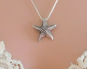 Sterling silver necklace,  star fish necklace, sea life necklace, ocean jewelry, solid sterling starfish necklace