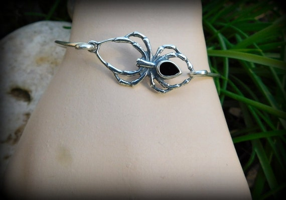 Sterling silver spider jewelry, Gothic jewelry, black spider bracelet, black widow jewelry