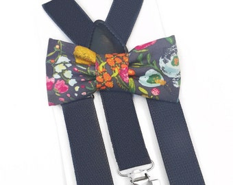 grey floral bow tie & suspender set,suspenders,baby suspenders,boy bow tie,floral bow tie,grey bow tie,adult child suspender,grey wedding