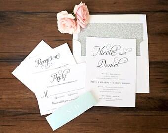 Beautiful Script Wedding Invitations \\ Sample