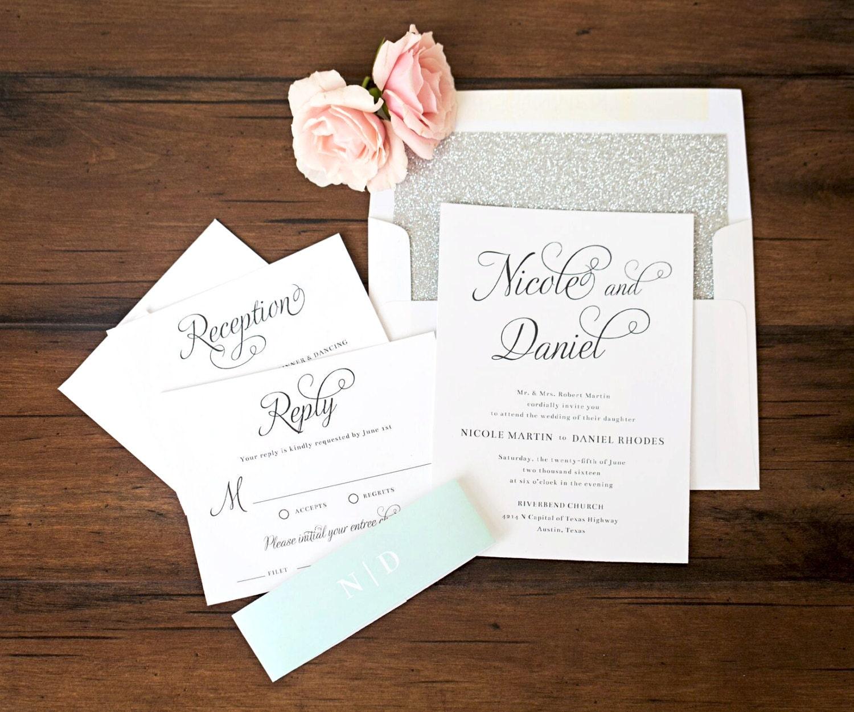 Beautiful Script Wedding Invitations Sample