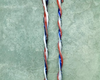 2 Patriotic Glass Icicles, Red, White and Blue, Handmade Lampwork