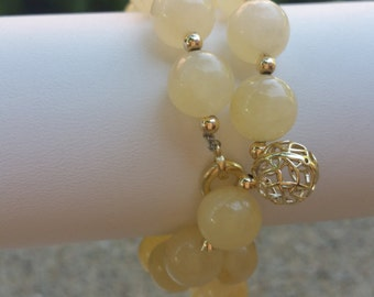 White Jade Yoga Bracelet Mala with Real 14 kt Solid Gold Accents