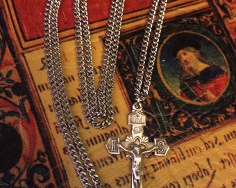 Mens Sterling Crucifix Necklace with CHAIN USA MADE New First Communion Confirmation Gift Solid .925 Sterling Silver