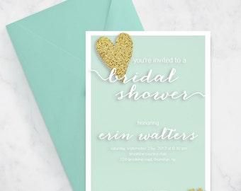 Printable Bridal Shower Invitation Mint Gold Glitter Glam - Digital File - 5x7
