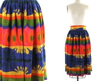 colorful print skirt •  Matisse inspired skirt •  abstract print skirt • 1980s midi skirt • full skirt  M/L