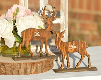 deer wedding mr and mrs table signs, buck and doe wedding bride and groom place cards, antler wedding decor bride and groom wooden signs