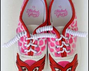 Gifts for Girls - Owelette Shoes, Hand Painted Owelette Sneakers, Owelette, PJ Masks, Girls Shoes, Girls Sneakers