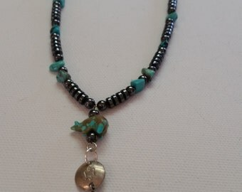 Handmade Turquoise Bear Necklace,  Southwestern, Dulcinea's Design Necklace, Native American Inspired