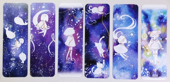 Set of 6 Watercolor Galaxy Space Character Bookmarks [Prints]