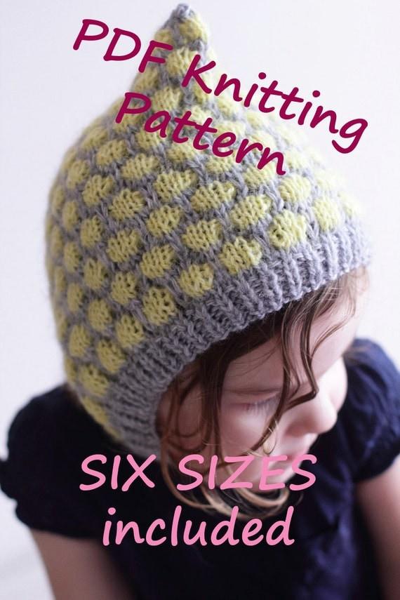 DOWNLOADABLE PDF PATTERN two color bonnet, bubble bonnet baby bonnet knitting...