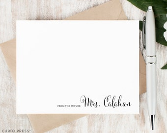 Personalized Notecard Set / Set of Flat Personalized Stationary Note Cards / Custom Printed Stationery Thank You Notes // FUTURE MRS.