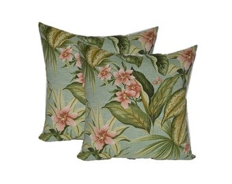 SET OF 2 - Indoor / Outdoor Decorative Square Throw Pillows - Jamaican Mist Tropical Floral